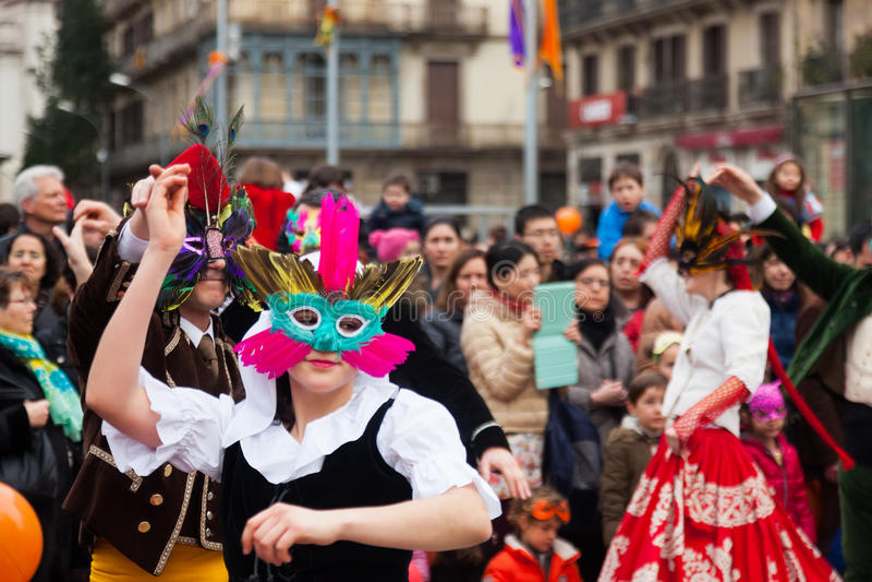 Dansende mensen bij Carnaval-Ballen royalty-vrije stock foto's
