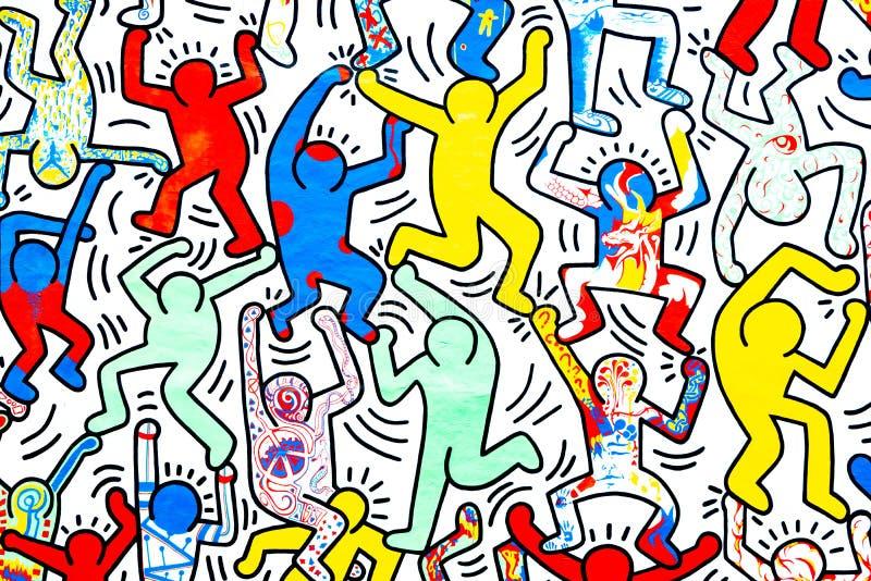 Dansende mensen op de muur royalty-vrije stock foto's