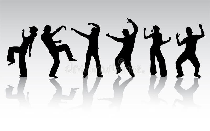 Dansende mensensilhouetten royalty-vrije illustratie