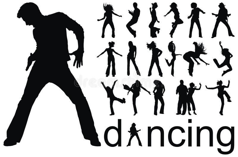 Dansende mensensilhouetten vector illustratie