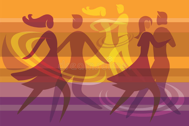 Dansende paren kleurrijke achtergrond stock illustratie
