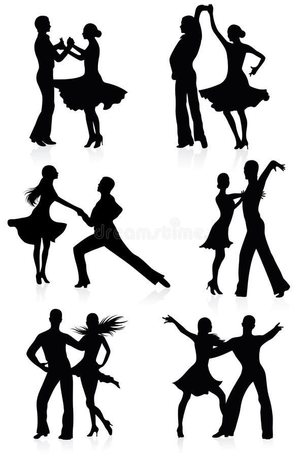 Dansende silhouetten. royalty-vrije illustratie