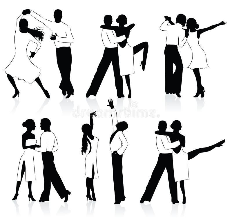 Dansende silhouetten. vector illustratie
