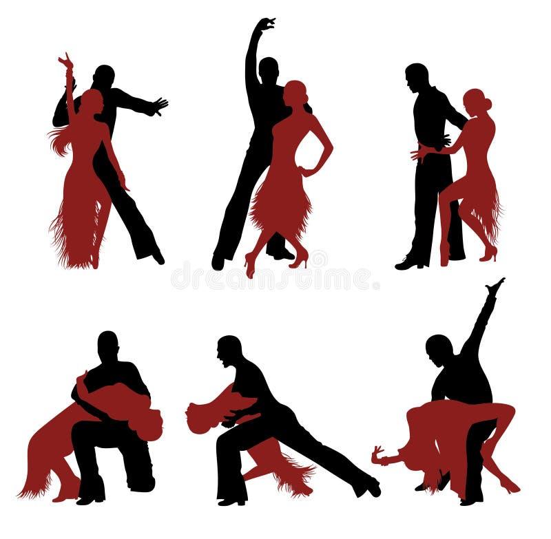 Dansende silhouetten. stock illustratie