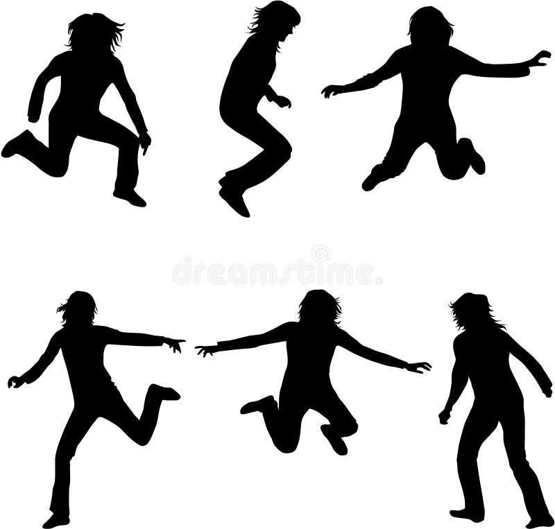 Dansende silhouetten royalty-vrije illustratie