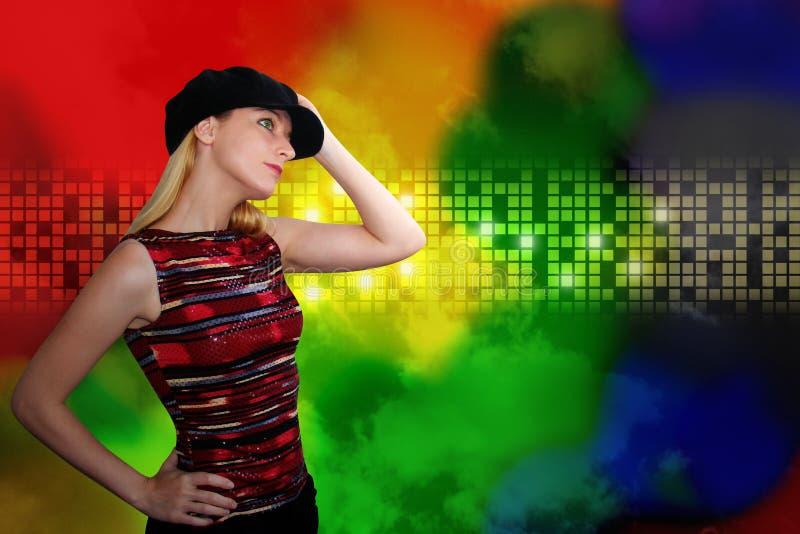 Dansende Vrouw bij Nachtclub op Abstracte Achtergrond royalty-vrije stock afbeeldingen