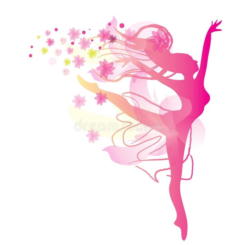 Dansende vrouw in roze kleuren stock illustratie