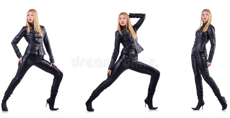 Dansende vrouw in zwart leerkostuum royalty-vrije stock afbeeldingen