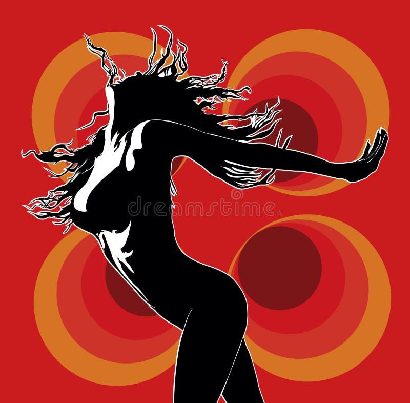 Danser 02 van de club rood stock illustratie
