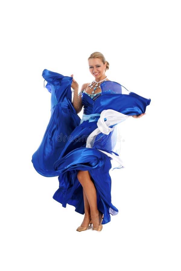 Danser in blauw-witte kleding royalty-vrije stock fotografie