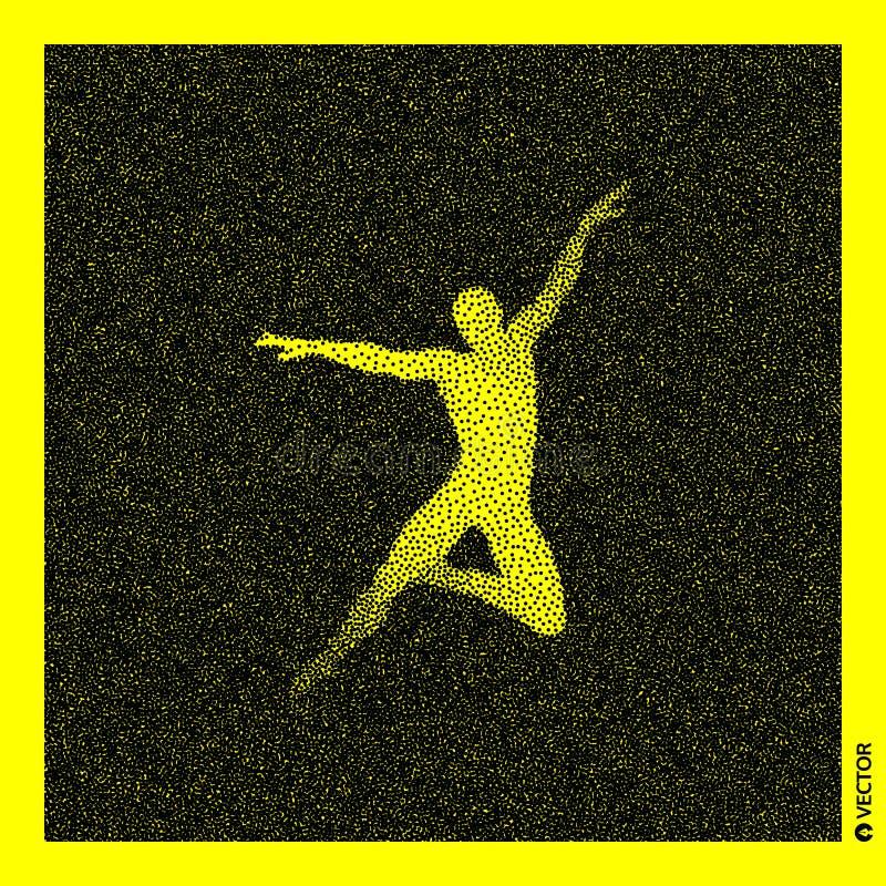 Danser 3D Menselijk Lichaamsmodel Zwart en geel korrelig ontwerp Gestippelde vectorillustratie vector illustratie