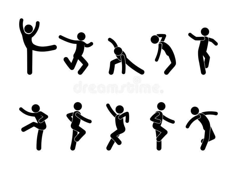 Danser des gens dans différentes poses, un ensemble de silhouettes de personnages de bâtons, icône de l'autocollant illustration stock