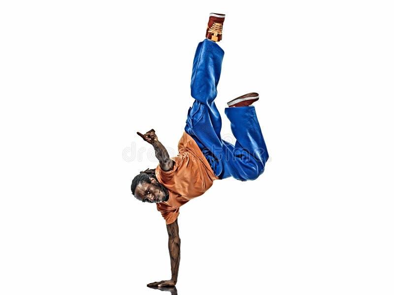 Danser die van de hiphop de acrobatische onderbreking jonge mensenhandstand breakdancing royalty-vrije stock fotografie