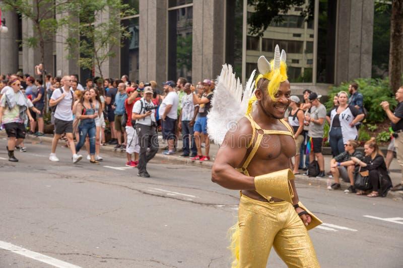 Danser in Montreal Vrolijk Pride Para royalty-vrije stock foto's