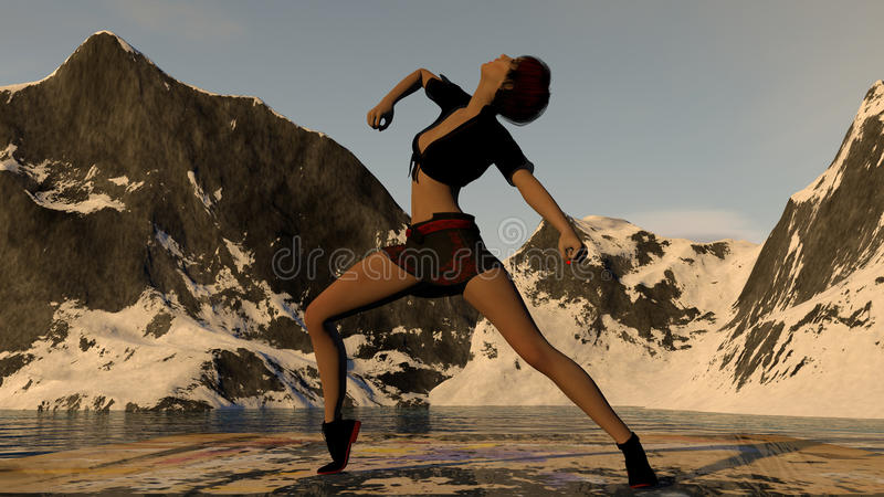 Danser In Mountain Scene stock afbeeldingen