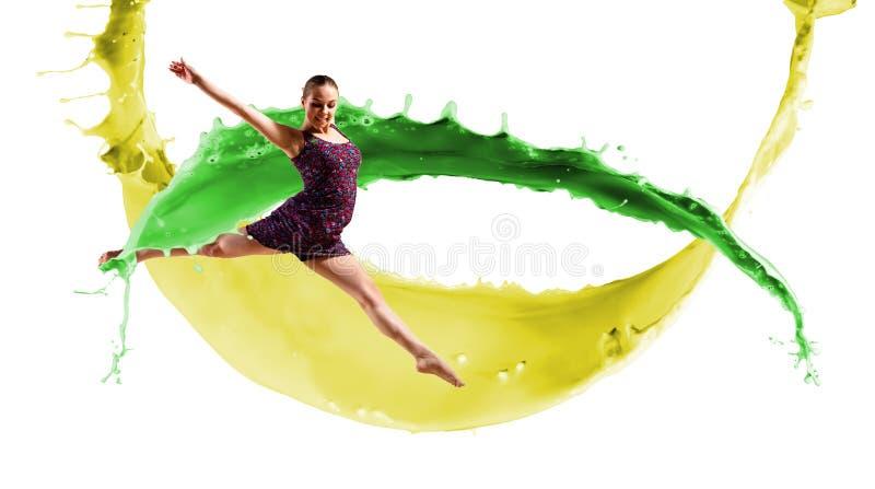 Danser, op een abstracte achtergrond. collage stock foto