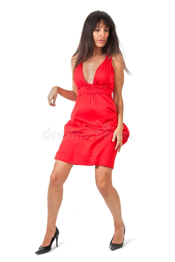 Danser in rood royalty-vrije stock afbeelding