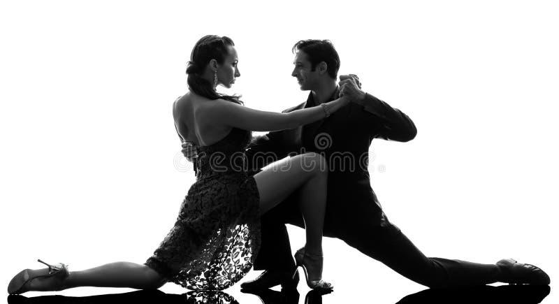 De man van het paar de dansers die van de vrouwenbalzaal silhouet tangoing royalty-vrije stock foto