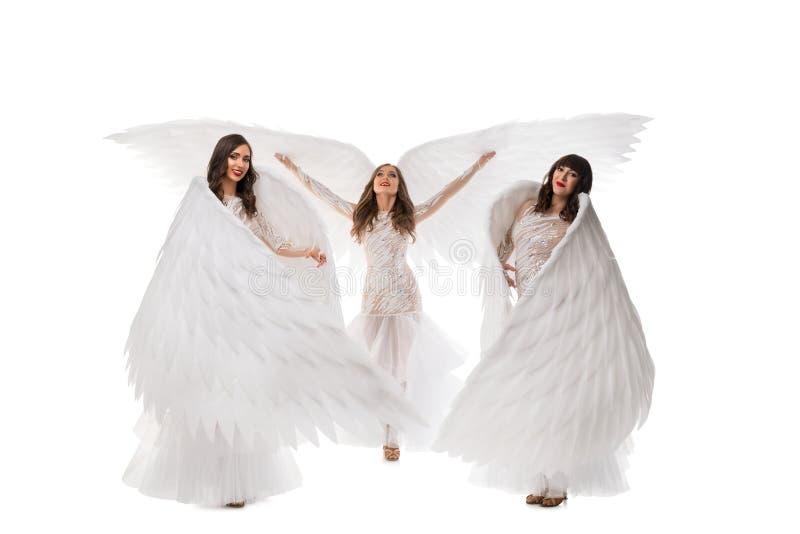Dansers in mooi kleding en vleugelsschot stock afbeeldingen