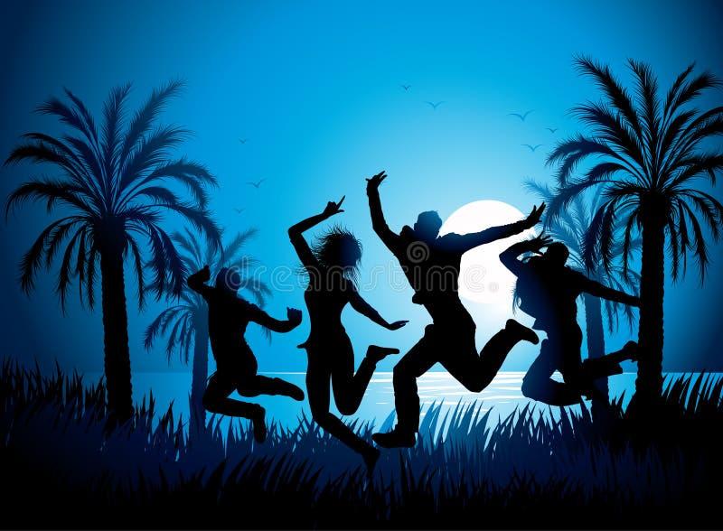 Dansers op tropisch strand vector illustratie