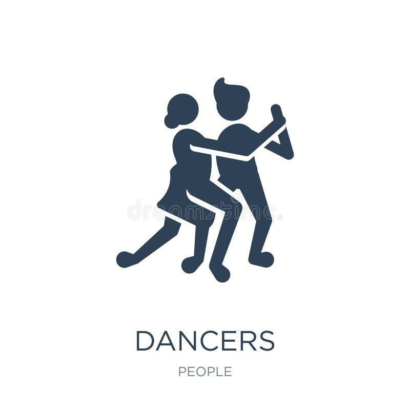 danserspictogram in in ontwerpstijl danserspictogram op witte achtergrond wordt geïsoleerd die eenvoudige en moderne vlakke symbo stock illustratie