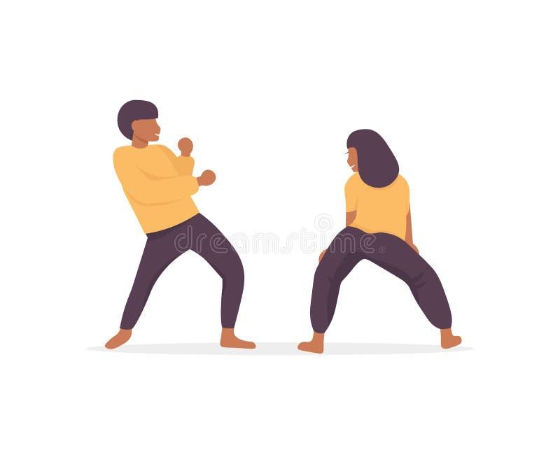 Dansersvrouw en man hiphop stock illustratie