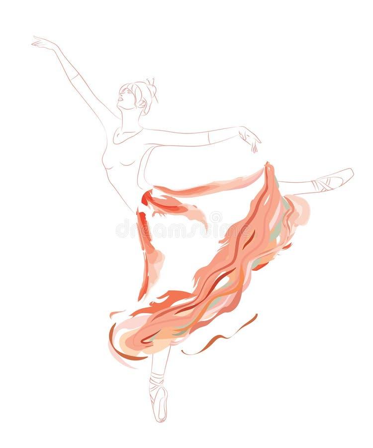 Danseur classique dans la longue jupe rouge de tutu illustration de vecteur