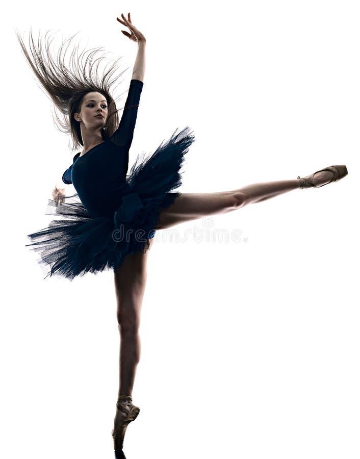 Danseur classique de ballerine de jeune femme dansant la silhouette blanche d'isolement de fond photos stock