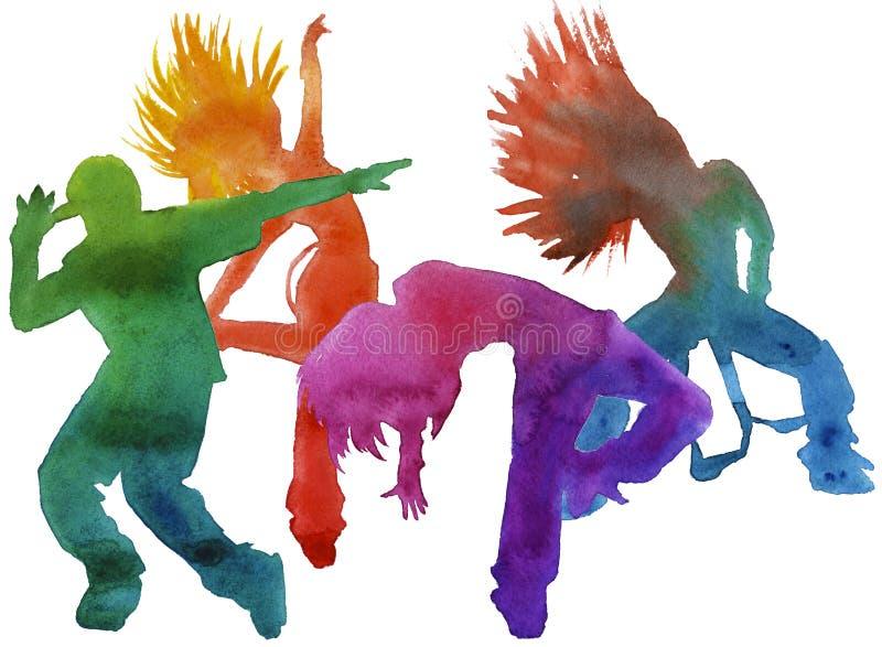 Danseur dans l'houblon de hanche isolé watercolor images stock
