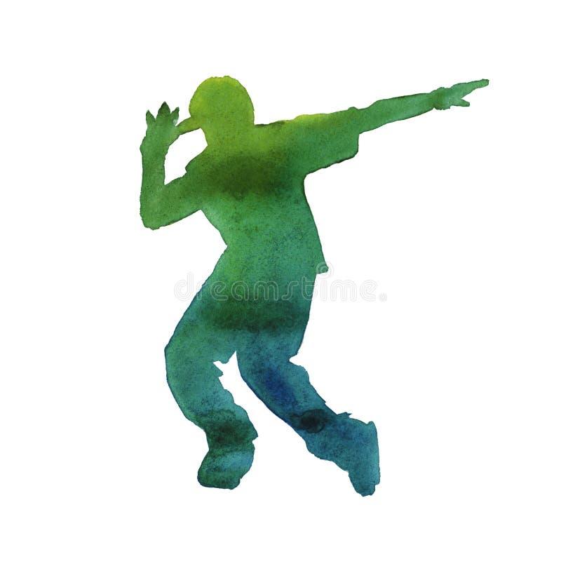 Danseur dans l'houblon de hanche isolé watercolor illustration de vecteur