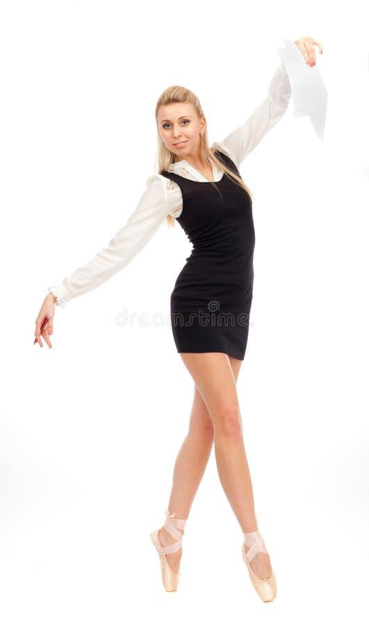 Danseur de ballet dans l'image d'une femme d'affaires images stock