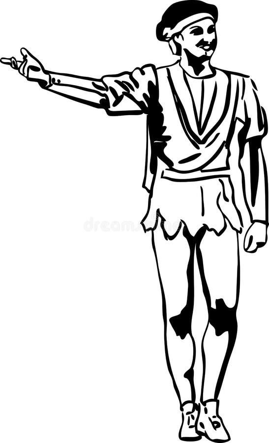 Danseur de ballet mâle de croquis restant dans la pose illustration libre de droits