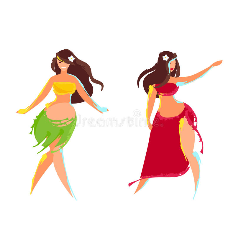 Danseur de danse polynésienne de deux Hawaïens illustration stock