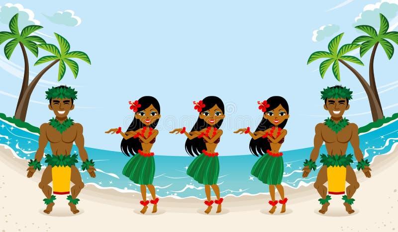 Danseur de danse polynésienne en belle plage illustration libre de droits