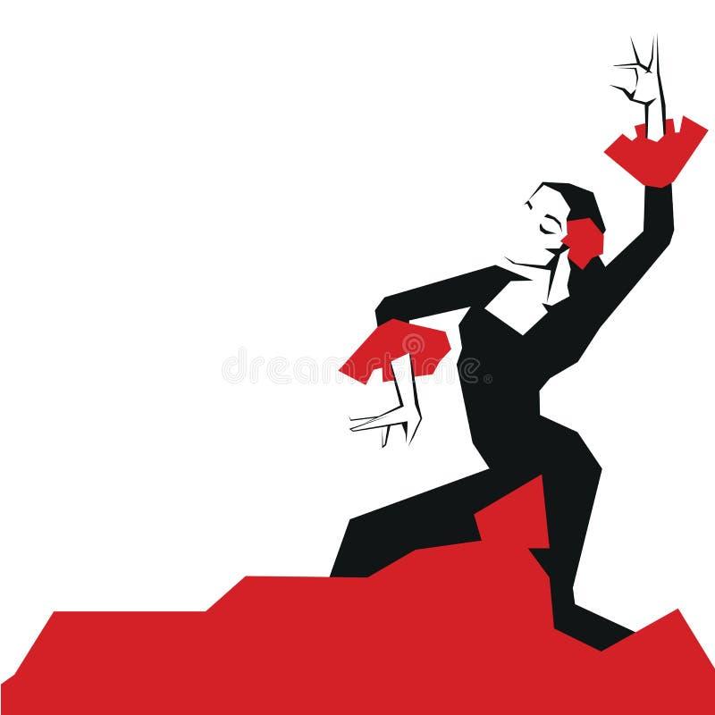 Danseur de flamenco dans la pose impressionnante expressive Minimalistic laconique illustration stock