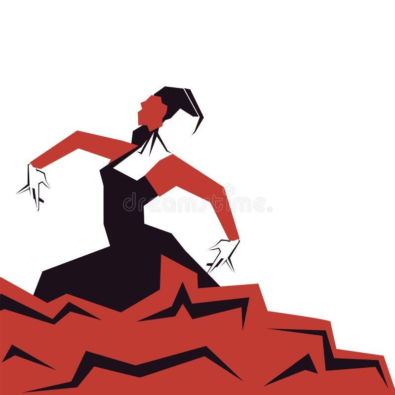 Danseur de flamenco dans la pose impressionnante expressive Minimalistic laconique illustration libre de droits
