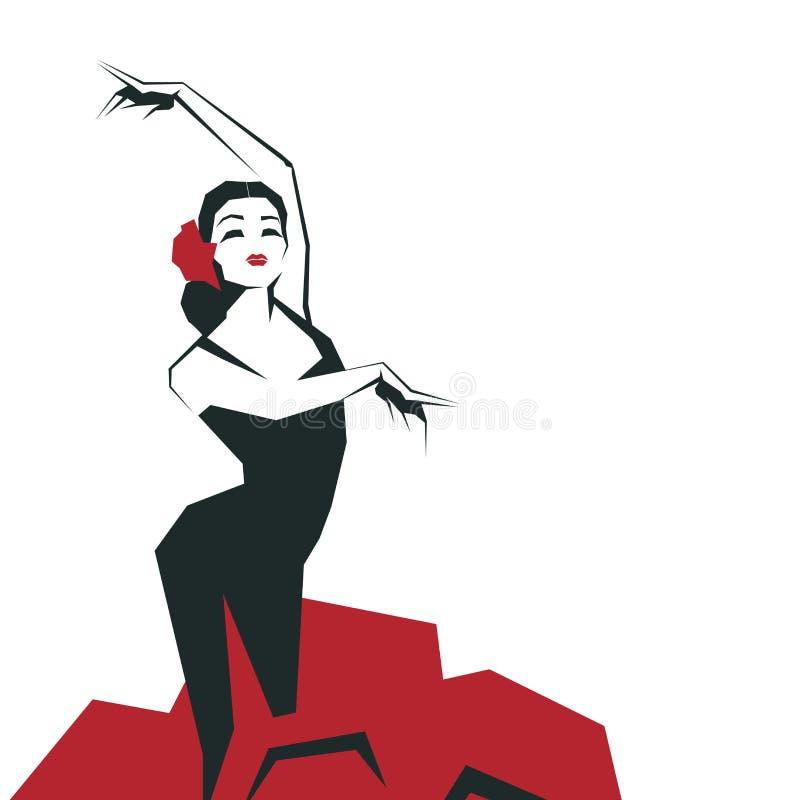 Danseur de flamenco dans la pose impressionnante expressive Minimalistic laconique illustration de vecteur