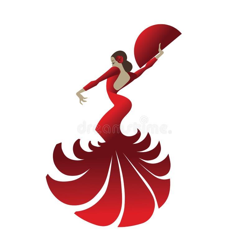 Danseur de flamenco tenant la pose spectaculaire illustration stock