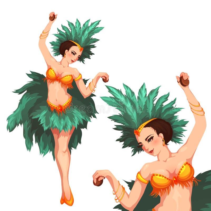 Danseur de samba de femme Carnaval 2008 de Rio Illustration de vecteur illustration libre de droits