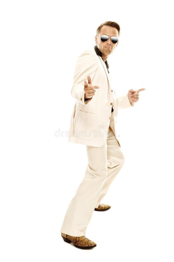 Danseur fou de disco dans le costume blanc images stock