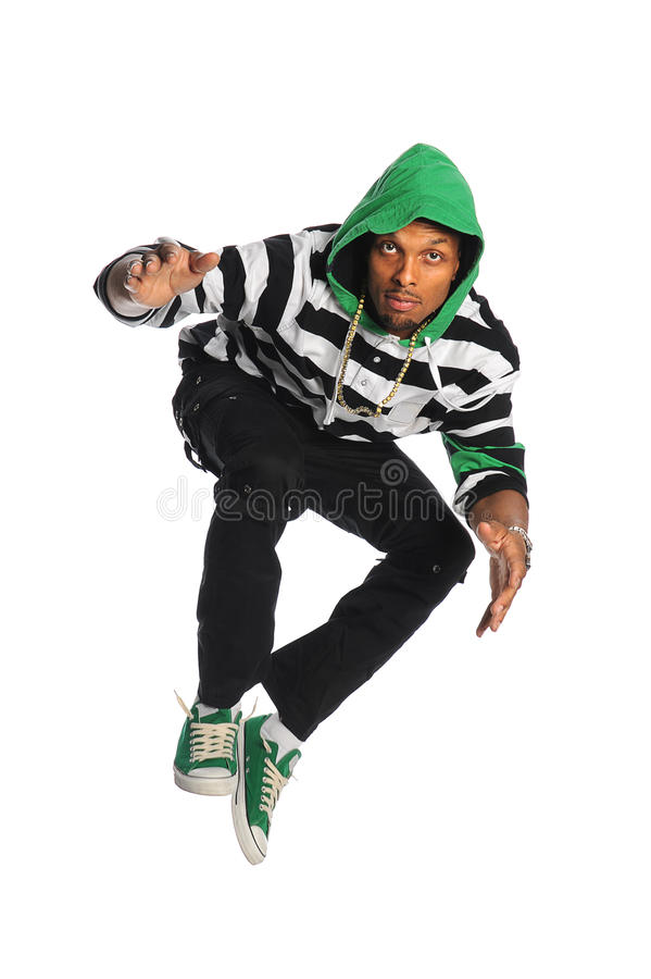 Danseur Jumping d'afro-américain image stock