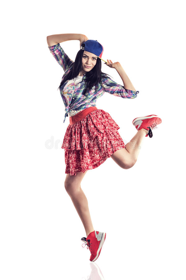 Danseur moderne de fille de style posant sur le fond blanc d'isolement image libre de droits