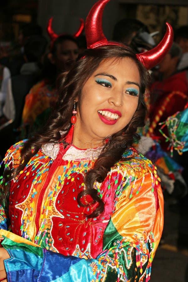 Danseur péruvien en tenue traditionnelle à la Fiesta del Cusco, 2019 image libre de droits