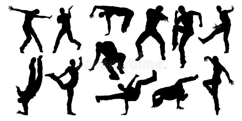 Danseur Silhouettes de danse de rue illustration stock
