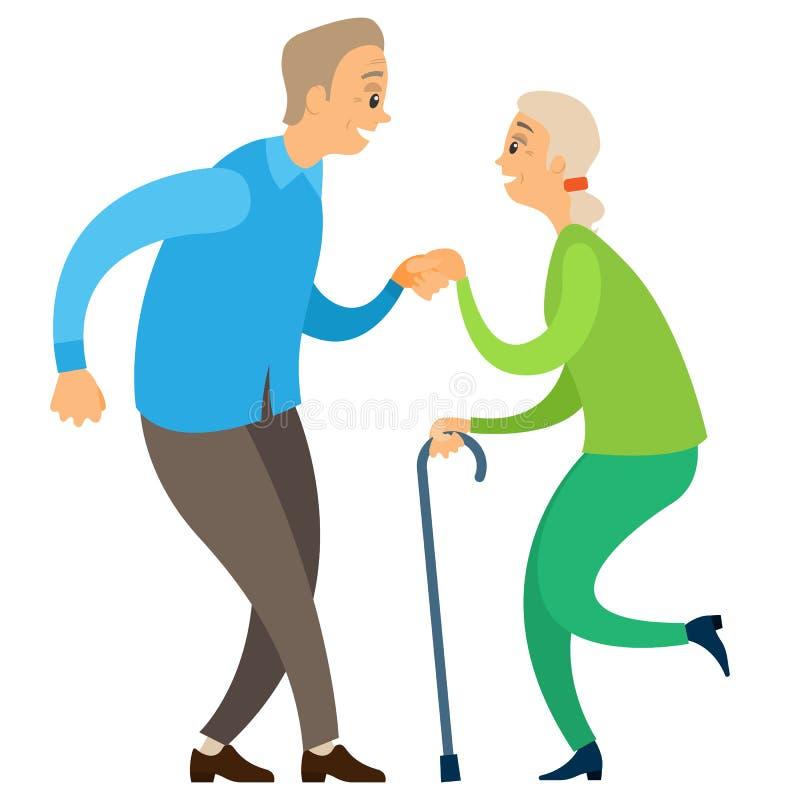 Danseurs âgés, retraités en mouvement, vectoriel dansant illustration de vecteur