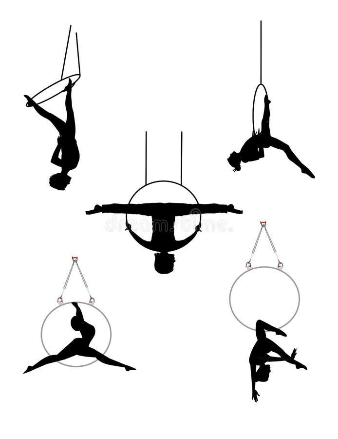Danseurs acrobatiques aériens avec des cercles illustration de vecteur