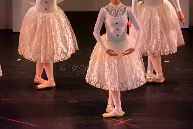 Danseurs classiques avec les robes classiques exécutant un ballet sur le fond de tache floue photographie stock libre de droits