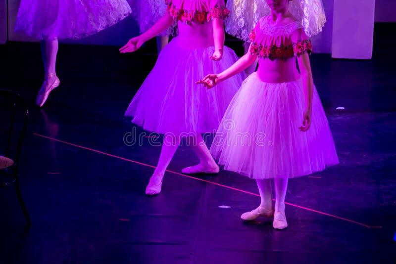 Danseurs classiques sous la lumière pourpre avec les robes classiques exécutant un ballet sur le fond de tache floue photos libres de droits