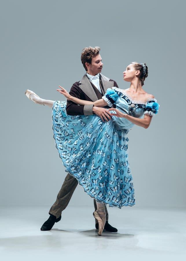 Danseurs contemporains de salle de bal sur le fond gris de studio photo stock