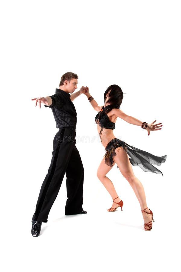 Danseurs dans l'action d'isolement sur le blanc image stock